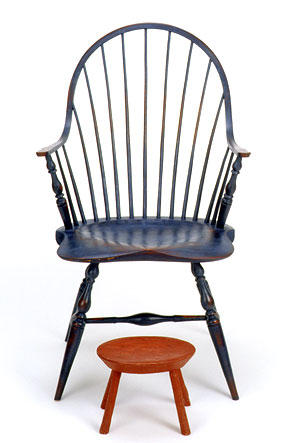 A Bowback Arm Chair With Footstool